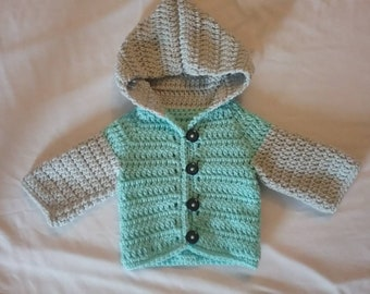 Crochet baby button up hoodie