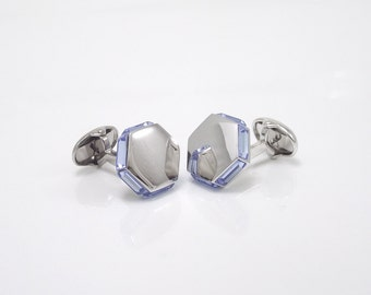 Sterling Silver Hayward U.S.A Square Cufflinks  Faux Pearl Centers  Florentine Finish  Matte Silver  Vintage