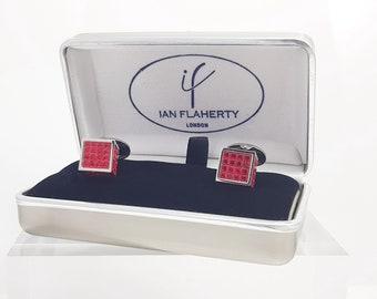 Swarovski ruby crystal cufflinks, Made in London England Mens cufflinks ideal Wedding Cufflinks for groom best man Rhodium Silver cufflinks