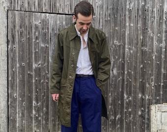 Vtg Mac Coat, Fishtail Parka Trench Jacket, Serbian Army, Olive green, Size L