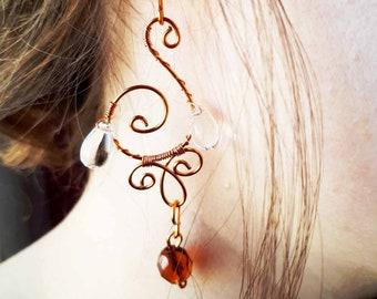 copper spiral earrings