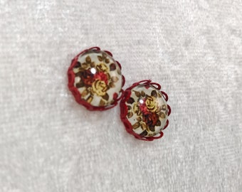 Red vintage style floral earrings, floral earrings, flower earrings, red earrings