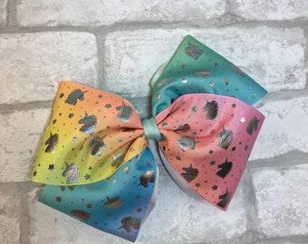 Large rainbow unicorn bow, girls large bow
