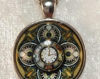 Clockwork necklace, steampunk necklace, pendant necklace, necklace, silver necklace