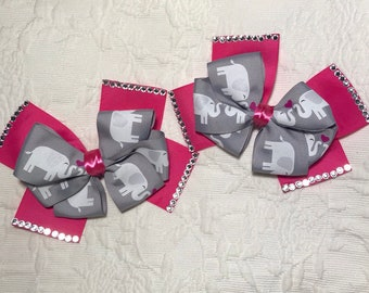 Lovely elephants matching pair hair bows