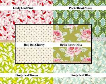 Nicey Jane/ Heather Bailey Fabric/ Fabric by the Yard/ cotton fabric/ roses/ pink leaves/ olive colored fabric/ quilt fabric/ floral fabric