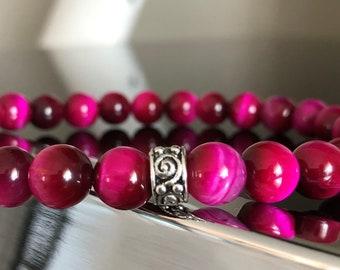 Rose Magenta echten AAA + Tigerauge Perlen Armband 8mm