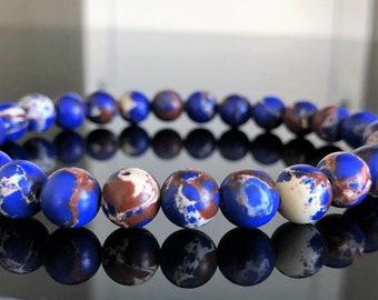 COBALT BLUE Aqua Terra Jasper  Man bracelet 8 mm