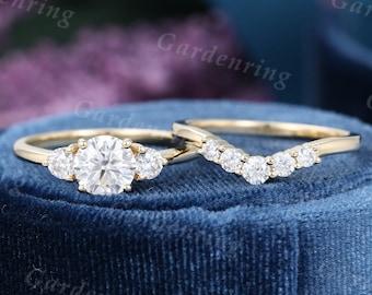 Moissanite Engagement ring set vintage engagement ring Unique 14k gold women Three stone Curved wedding band Bridal set anniversary gift