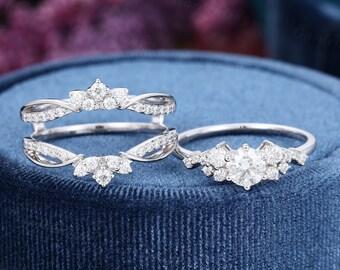 Moissanite Engagement ring Set white gold vintage cluster ring Diamond Wedding women  Moissanite art deco  enhancer double band Anniversary