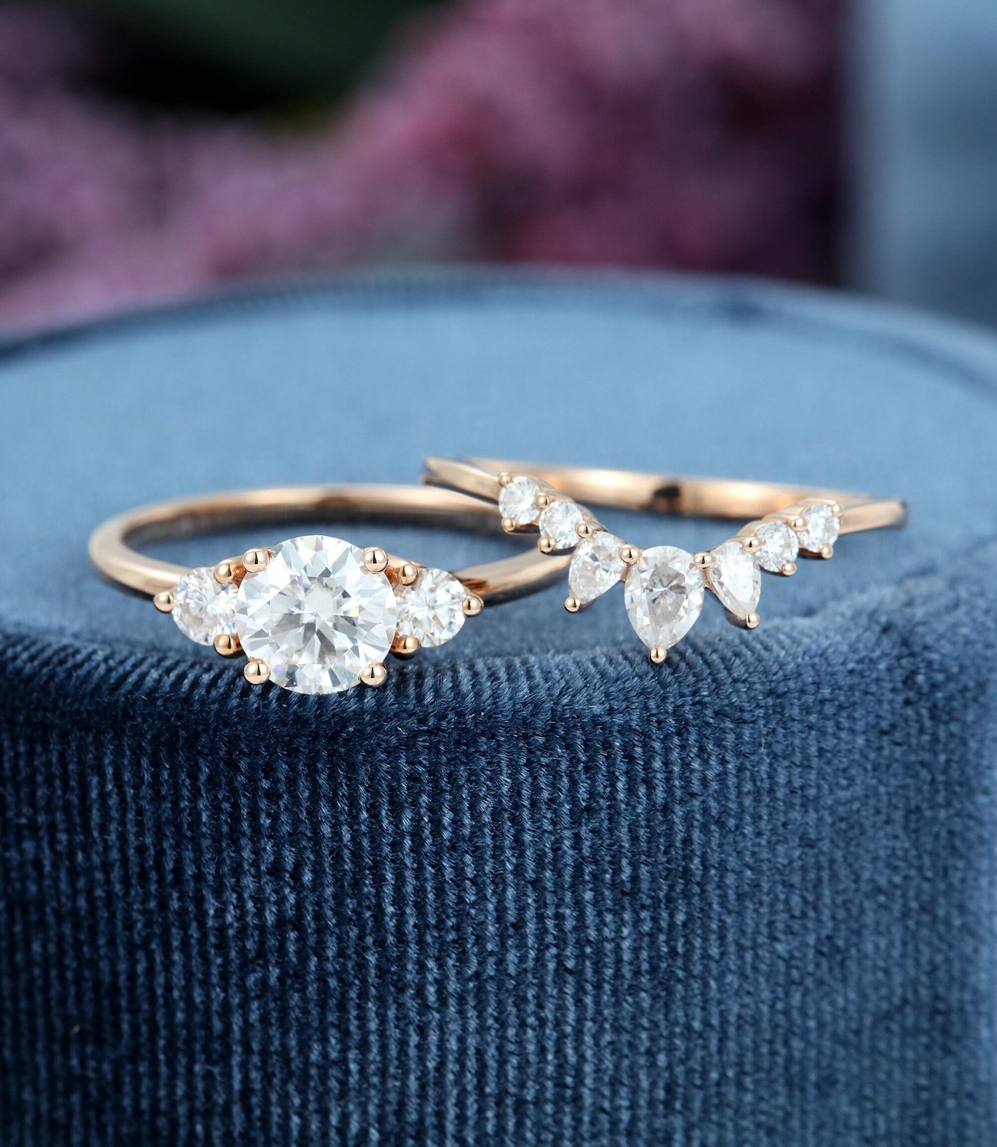 Moissanite Engagement Ring Set Rose gold unique image 0