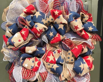 Patriotic /4th of July/red white blue/Summer/USA/wreath/door hanger/square/diamond/ shape wreath/burlap mesh./ready to ship