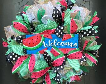 """Watermelon /Summer/Watermelon wreath/door hanger/22"""" round wreath/ Ready to ship."""