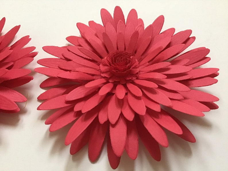 2 pieces Paper Flowers Red Mums 4 Wedding Shower Party Birthday Door Wall Window Rooms Church Decor Small Backdrop Table Frame table