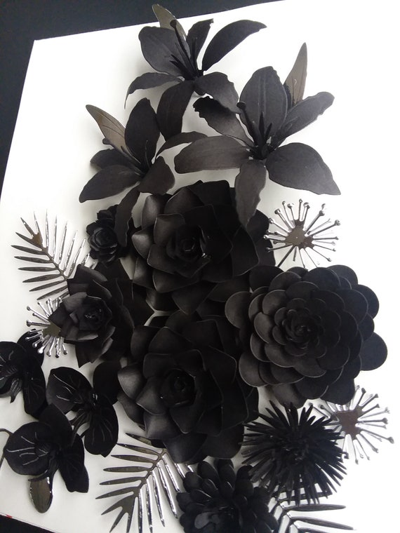 Black Orchids Roses Silver White Background 3 D Flower Etsy