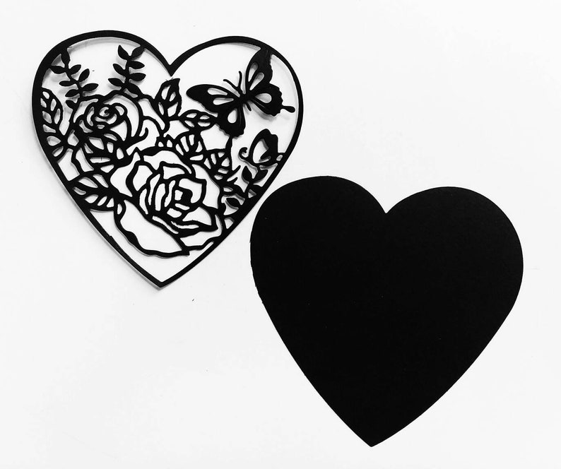 Black Butterfly Rose Flower Heart Shape Cut Out Card Making Embellishments Party Crafts Diy Projects Scrapbooking Walls Room Decor Birthday