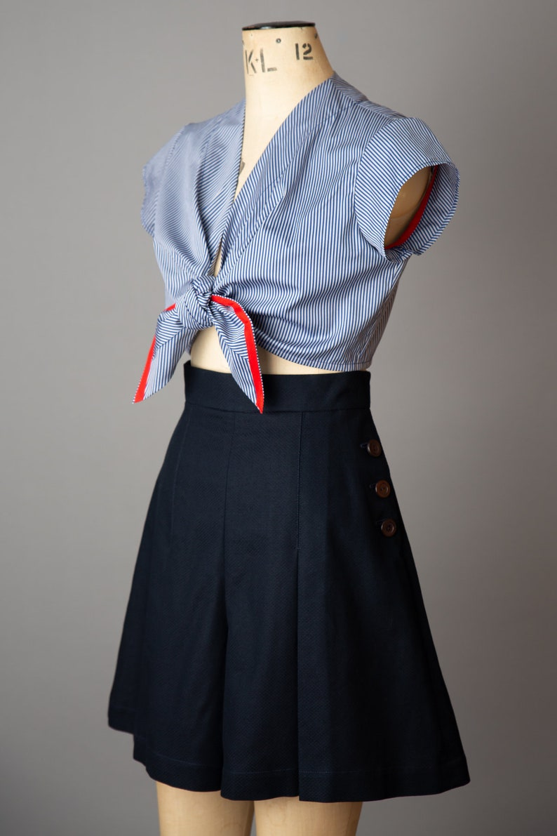 Vintage Shorts, Culottes,  Capris History Navy High-waisted 1940s Style Shorts $158.21 AT vintagedancer.com