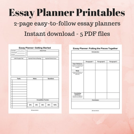 Student essay planner printables 2 page easy to follow etsy