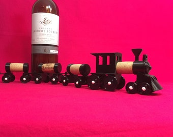 Cork Train, 3D printed, 4-4-0 Locomotive, with three tank cars.