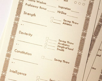 DND (Dungeons and Dragons) Inspired Vintage Character Sheet