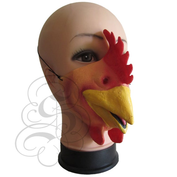MEZZA faccia Pollo Divertente Costume Maschera Di Lattice Per Bambini /& Adulti Halloween
