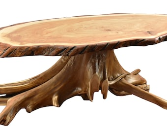d601df2c6519d Rustic Wood Coffee Table with Live Edge Black Willow Top White Cedar Stump  Base Functional Art Decor Natural Finish by Cauff