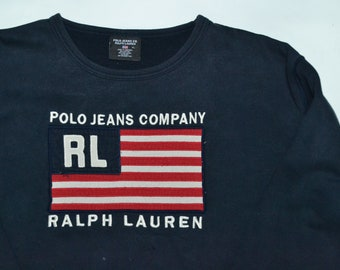 70f606f98 VTG Polo Jeans Co. Ralph Lauren Embroidered Big Logo Flag Crewneck Sweater  Pullover RL 67 92 93 80s 90s Streetwear Fashion Hip Hop
