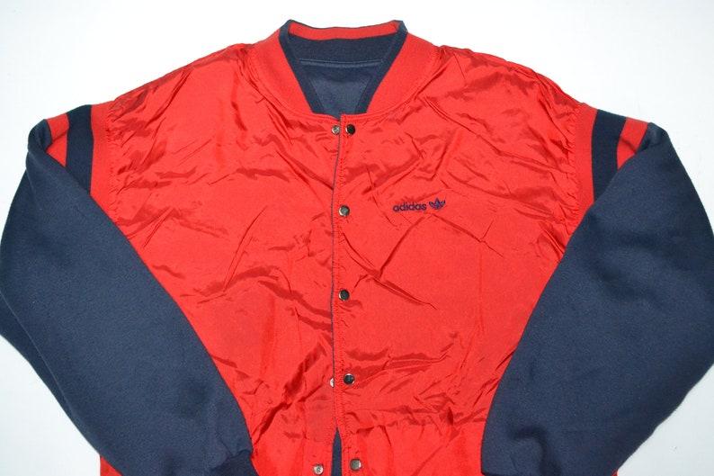 VTG 80er Jahre Reversible Adidas Windbreaker Jacke Pullover Varsity Bomber Vintage 90er Jahre Streetwear Mode Hip Hop Streifen begrenzt selten