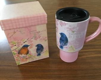 Collectable 16 oz. ceramic travel mug, 'Eastern Bluebird' by Lang. Artwork by Sherri Buck Baldwin