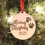 Personalized Cat Ornament, Cat Pawprint Ornament, Meowy Christmas, Your Cat's Name Ornament, Custom Christmas Ornament