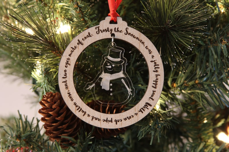 Frosty the Snowman Ornament laser cut wood Christmas image 0