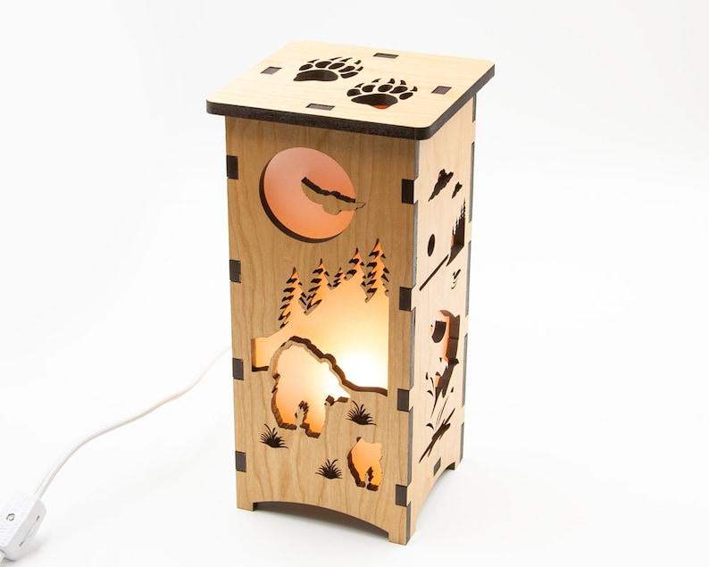 Wood Wilderness Lantern Laser Cut Lamp Hunting Decor image 0