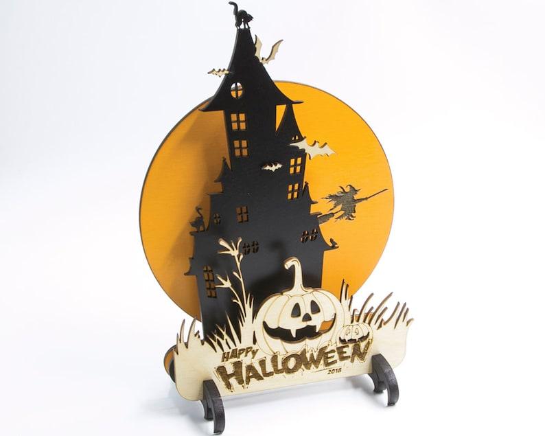 Wood Halloween Centerpiece Halloween Mantle Decor Spooky image 0