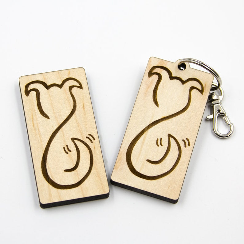 Wood Dog Charm Dog Silhouette Laser Cut Keychain Wagging image 0