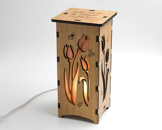 Wood Tulip Lantern Laser Cut Tulips Wood Flower Lamp Bouquet Lamp Ladybug Lamp Ladybird Art Tulip Decor Tulip Lamp
