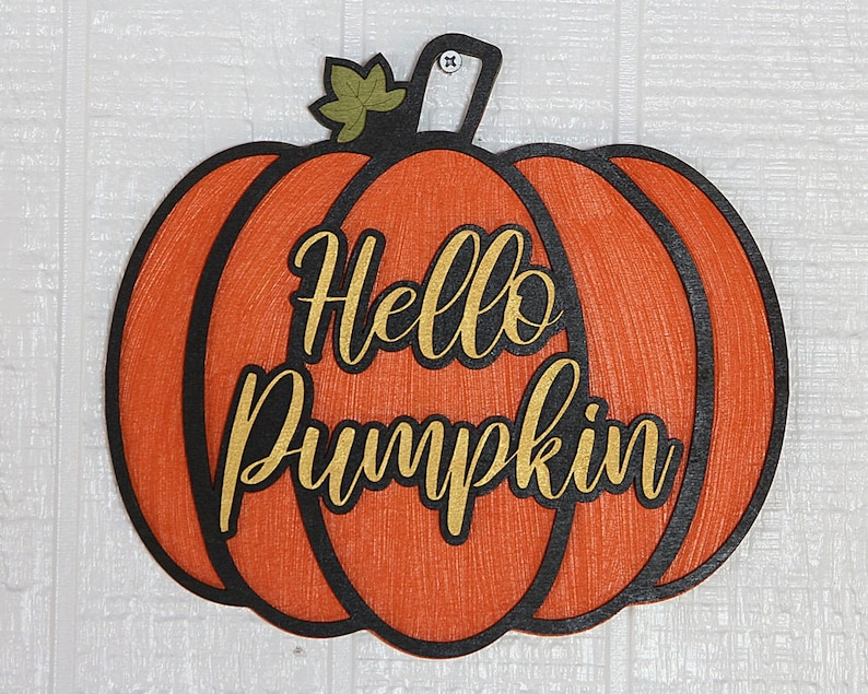 Hello Pumpkin Sign wood Halloween decor laser cut wood hand image 0