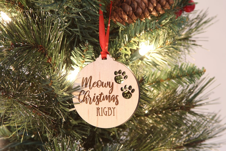 Personalized Cat Ornament Cat Pawprint Ornament Meowy image 0