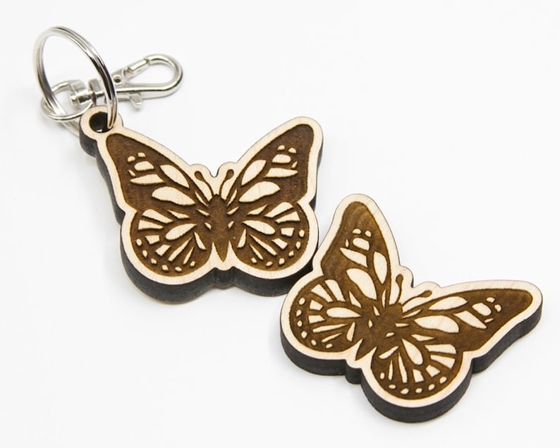 Wood Butterfly Charm Small Butterfly Keychain Laser Cut Art image 0