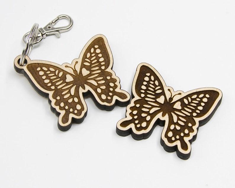 Wood Butterfly Charm Heart Butterfly Keychain Laser Cut Art image 0