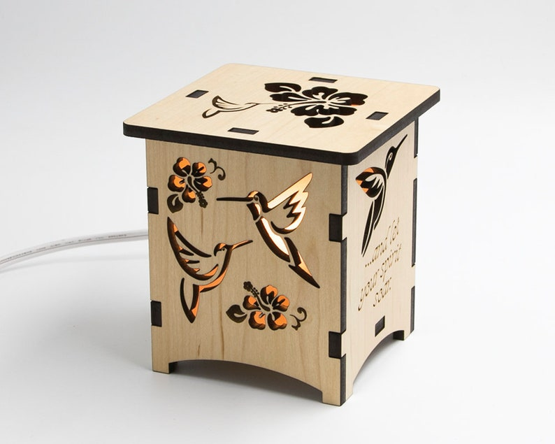 Short Wood Hummingbird Lantern Laser Cut Bird Lamp Spread image 0