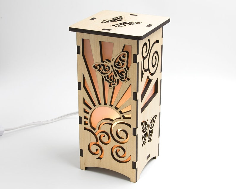 Wood Butterfly Lantern Laser Cut Lamp Housewarming Gift image 0