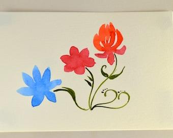 "Small Floral Watercolor painting, original 6x9"" cold press 140 lb paper"