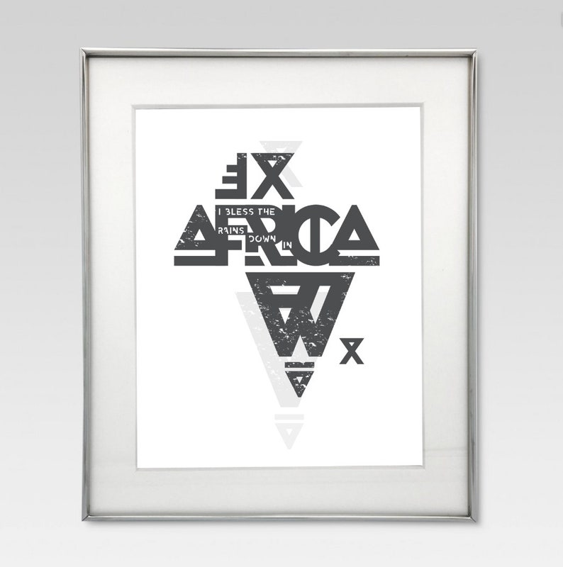 A3 Africa Typography Poster Digital art download  Toto Africa lyrics 'I  Bless the Rains down in Africa'