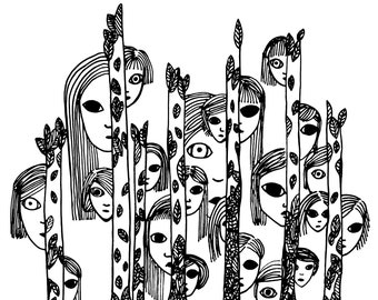 Art Poster Trees Eyes Faces Leaves Wall Fine Art Print