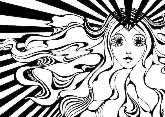Carte Postale Carte Imprimer Dessin Visage Cheveux Hippie Fleurs Yeux Lignes Psychédéliques Noir Et Blanc Monochrome Wall Art Art Fille