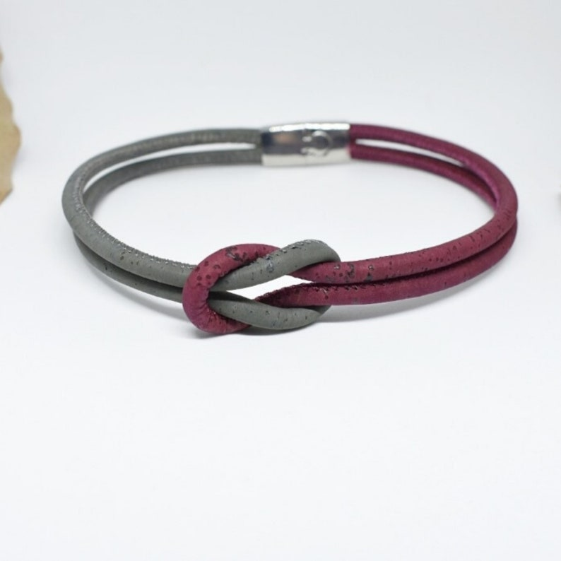 Two colored cork bracelet with grey and wine red and with magnetic ends