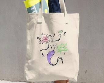 Margarita Mermaid Cotton Tote Bag (Printed on one side)