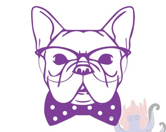 084ea1ad1c2 Hipster Frenchie Vinyl Decal Sticker