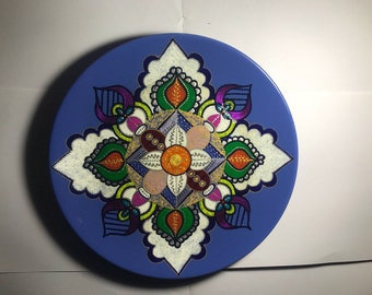 Dotted&acrylic hand-painted plate