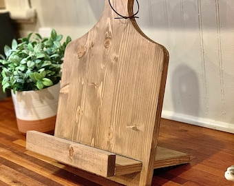 Reclaimed Adjustable Cutting Board Cookbook Stand Space Efficient Leather Strap Hanger Recipe Stand iPad Holder